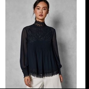 Ted Baker CAILLEY Lace Top Blouse 4 NWOT -flawed-